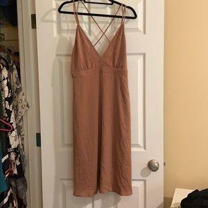Brown silky midi dress!